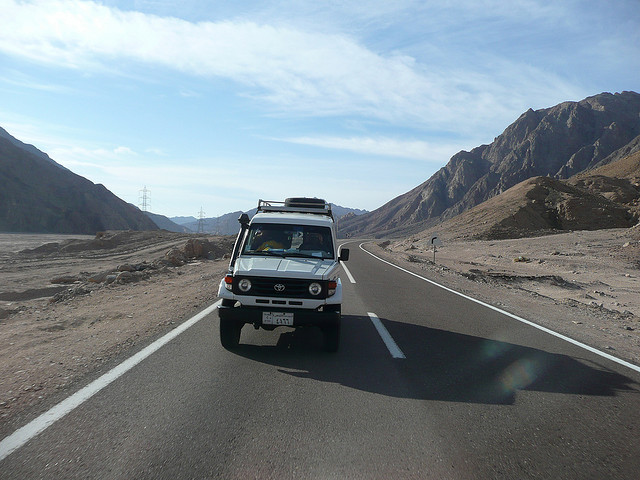 Driving into the Sinai desert