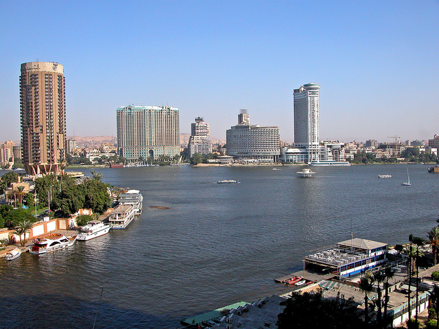 View of the Nile River and Cairo, Egypt