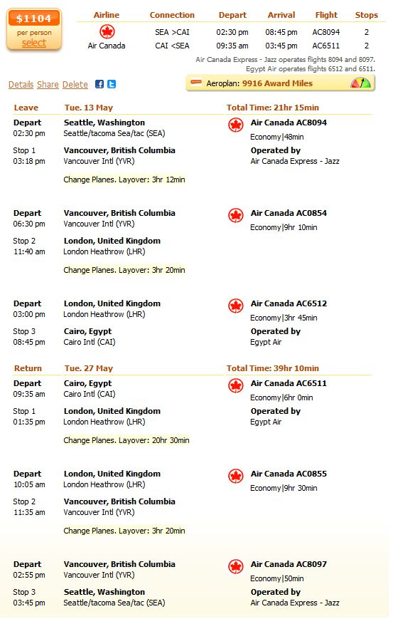 Air Canada flight from Seattle to Cairo details