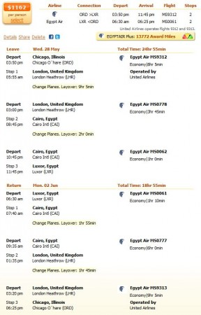 Egypt Air flight from Chicago to Luxor details